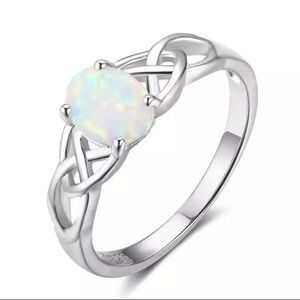 S925 Vintage opal sterling silver ring